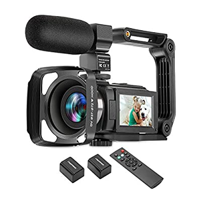 ZUODUN 4K Camcorder 60FPS Ultra HD Vlogging Video Camera for YouTube 48MP 16X Digital Zoom IR Night Vision WiFi Vlog Recorder with 3 Inch Touch Screen Microphone Remote Control Stabilizer by ZUODUN