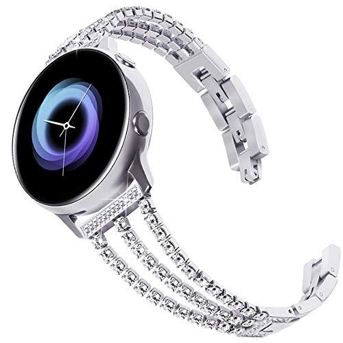 DEALELE Cinturino Compatible con Galaxy Watch 42mm / Active 2 / Galaxy 3 41mm, Bracciale di Ricambio 20mm Acciaio Inossidabile Diamanti per Samsung Gear Sport/Huawei GT2 42mm, Argento