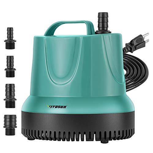 VIVOSUN 1150GPH Submersible Pump (4500L/H, 100W), Ultra Quiet Water Pump with 11ft High Lift, Fountain Pump with 5ft Power Cord, 4 Nozzles for Fish Tank, Pond, Aquarium, Statuary, Hydroponics
