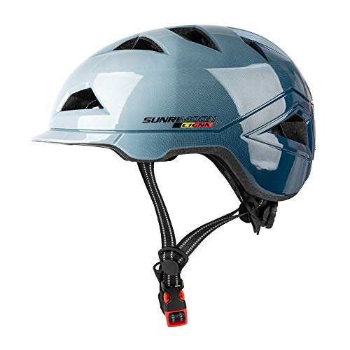 SUNRIMOON Fahrradhelm für Erwachsene, mit wiederaufladbarem USB-Licht, Urban Commuter Leichter Fahrradhelm, verstellbare Größe für Herren/Damen, 22,44-24,41 Zoll, Farbverlauf blau