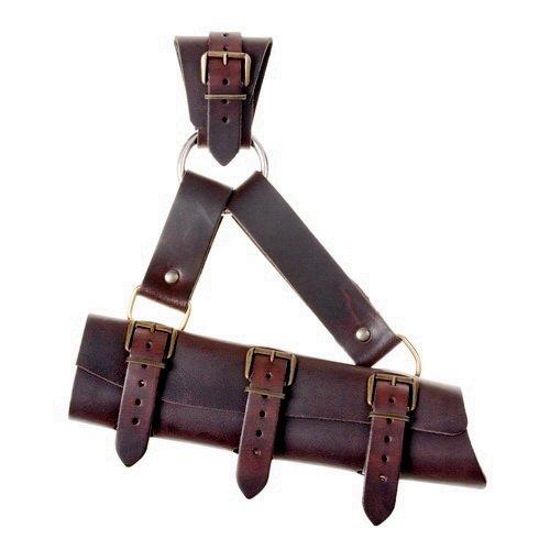 Pera Peris LARP-Schwertgehänge mit Ring im Stil des Mittelalters aus Leder Farbe braun