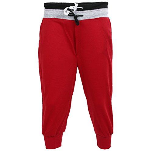 SODIAL(R) Homme Sports Pantalons Sarouel Formation Danse Bouffant Jogging Casual Pantalons Courts (Rouge) - M