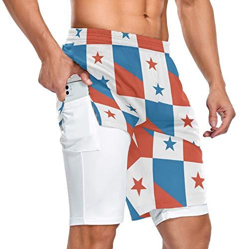Pantalones cortos deportivos 2 en 1 con la bandera de Panamá para hombre con bolsillo
