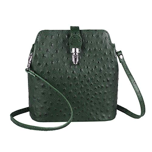 OBC Made in Italy Damen echt Leder Tasche Strauß Crossbody Umhängetasche Cross-Over Bodybag Schultertasche Handytasche Abendtasche City Bag (Dunkelgrün)