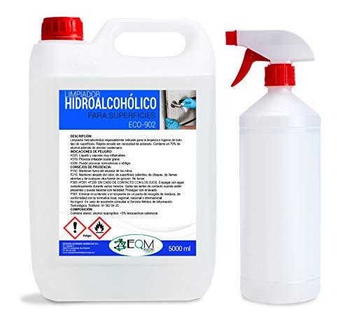 Ecosoluciones Químicas ECO-902   5 litros  Desinfectante de superficies hidroalcohólico   Uso profesional   Incluye pulverizador para rellenar.