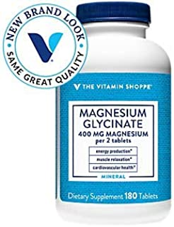 The Vitamin Shoppe Magnesium Glycinate 400MG, Supports Energy Production, Muscle Relaxation and Heart Health (180 Tablets)