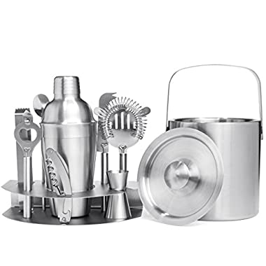 Best Choice Products 10-Piece Stainless Steel Bartender Mixology Set w/Ice Bucket, Cocktail Shaker, Strainer -Silver