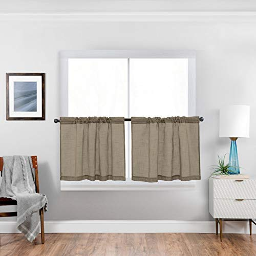 Cozynight Taupe Sheer Tier Curtains 24 inch Length Linen Curtain Sheers Transparent Half Window Curtains Kitchen Tiers Bathroom Small Curtains Cafe Curtains Light Filtering Rod Pocket 2 Panels