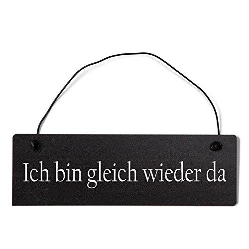Deko Shabby Chic Schild Ich Bin gleich Wieder da Vintage Holz Türschild in schwarz mit Draht