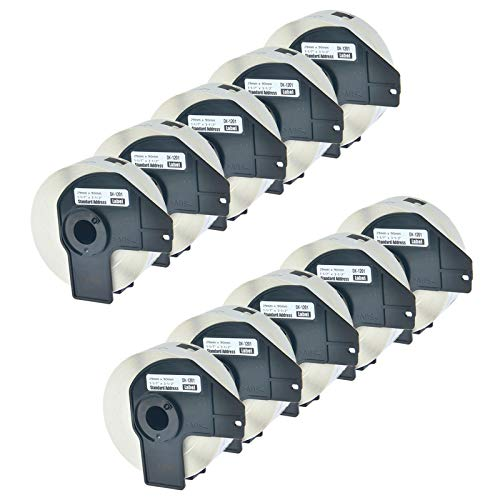 NineLeaf Die-Cut Standard Address Labels with Cartridge Compatible for Brother DK-1201 DK1201 P Touch Q Touch QL-1050 QL-500 Printers 29mm x 90mm (1-1/7
