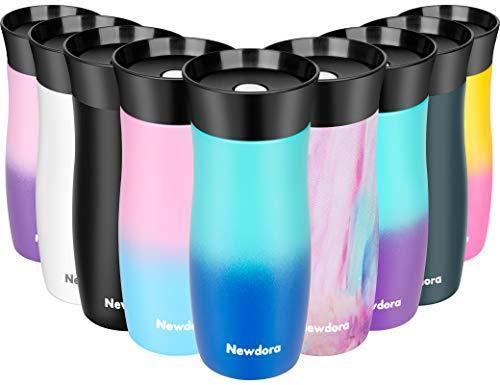 Newdora Thermobecher Kaffeebecher to go Reisebecher Travel Mug Edelstahl Isolierbecher, Doppelwandiger 360°-Trinköffnung Easy Quick-Press-Verschluss, BPA Frei (Farbverlauf blau)