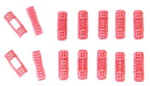12pc Small Mini Tiny Snap On (Clip-On) Hair Rollers PINK by Le Salon