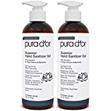 PURA D'OR Hand Sanitizer Gel LEMONGRASS Scent 2 PACK-16oz each...