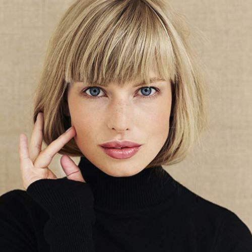 Queentas Short Blonde Bob Wig with Air Bangs Chin Length Heat Resistant Synthetic for Women with Wig Cap ( Golden Blonde(#24) Mixed Strawberry Blonde(#27))