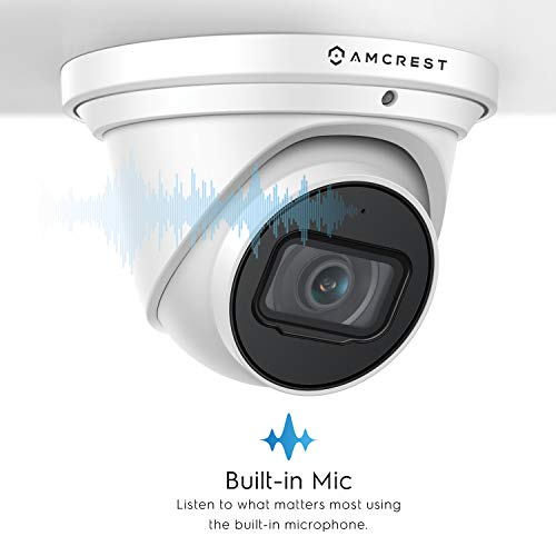 Amcrest UltraHD 4K (8MP) Outdoor Security IP Turret PoE Camera, 3840x2160, 164ft NightVision, 4.0mm Narrower Angle Lens, IP67 Weatherproof, MicroSD Recording (128GB), White (IP8M-T2499EW-40MM)