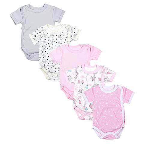 TupTam Baby Mädchen Kurzarm Wickelbody Baumwolle 5er Set, Farbe: Farbenmix 3, Größe: 74