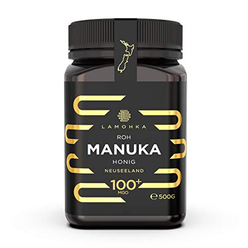 Lamohka Roher Manuka Honig aus Neuseeland, MGO 100+ zertifiziert, für Haut, Lebensmittel - natürlicher, nicht pasteurisierter Honig aus Nektar von Manuka Tree Flower (500)