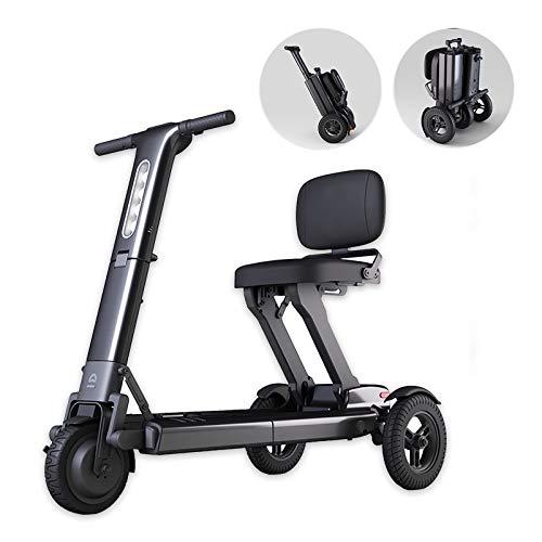 YF-Mirror Scooter eléctrico de Movilidad Plegable para Adultos y Personas Mayores, Ligero y de Largo Alcance, Scooter eléctrico de 3 Ruedas para Silla de Ruedas (Negro)