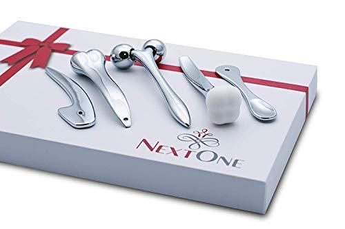NextOne Face Massage Toolset: Roller, Silicon Rubber Head, Acupressure Massage Bar, Crescent-Shaped Massager, Spoon-Shaped Massager