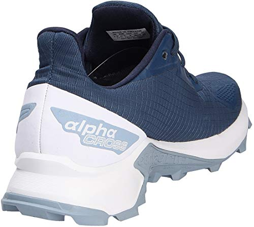 SALOMON Alphacross Blast Gtx Trail Running Shoe, Blue Dark Denim White Ashley Blue, 10 UK