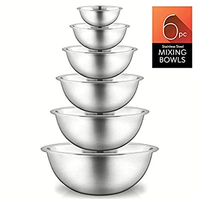 NutriChef Stainless Steel Kitchen Mixing 6 Piece Premium Space Saving Nesting Pour Perfect High-Grade Metal Serving Bowls Set-Food Pr, All Sizes, Silver