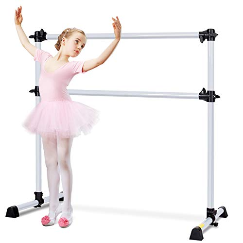 Goplus Sbarra Danza Classica con Altezza Regolabile per Allenamento, Barra Doppia da Ballo in Metallo Portatile per Casa (Argento)