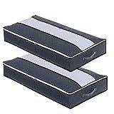 flintronic 2 Pcs Bolsa de Almacenamiento, 75L(100x50x15cm) Gran Capacidad Plegable Debajo de la Cama Organizador de Edredones, no Tejido,Ventana Limpia, para Edredón, Manta, Gris