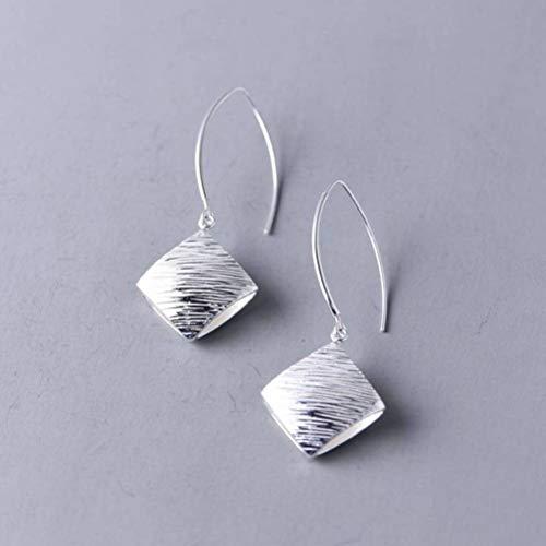 WOZUIMEI Pendientes de Estilo Chino Eardrop S925 Plata Plata Simple Moda Diamante Grande Joyería de Plata Geométrica Pendientes de Plata de Temperamento FemeninoAretes de plata