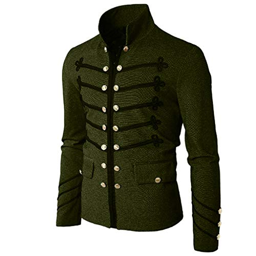 Men Gothic Vintage Jacket Double Breasted Formal Gothic Victorian Coat Costume (L, Army Green)