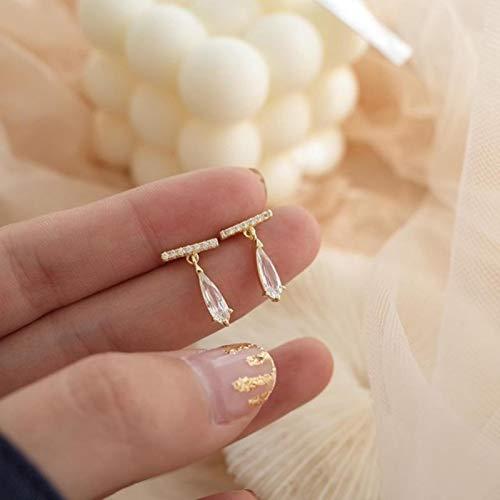 AQUALITYS Clásico Cristal Mujeres Pendientes de botón Cristal Simple Gota de Agua uñas de Moda joyería para Mujer Accesorios-Oro