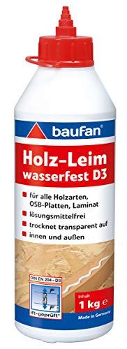 Baufan Holzleim D3, wasserfest & für alle handelsüblichen Holzarten, 1 kg