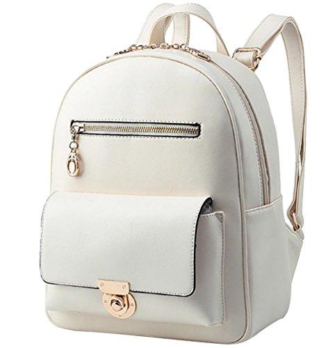 YiJee Donne Casuale Elegante Contrasto di Colore Colore Stile Zaini Bianco