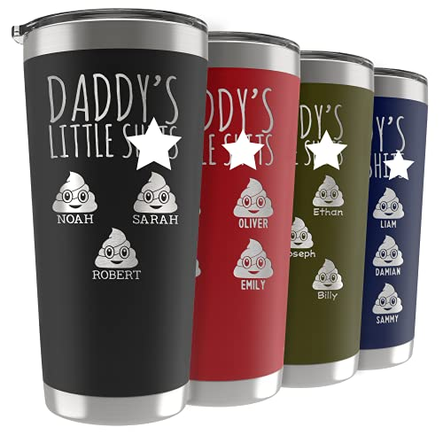 Fathers Day Gifts, Personalized Daddy's Little Sh!ts Tumbler w/ Kids Names & Poop Emojis, 9 Colors,...