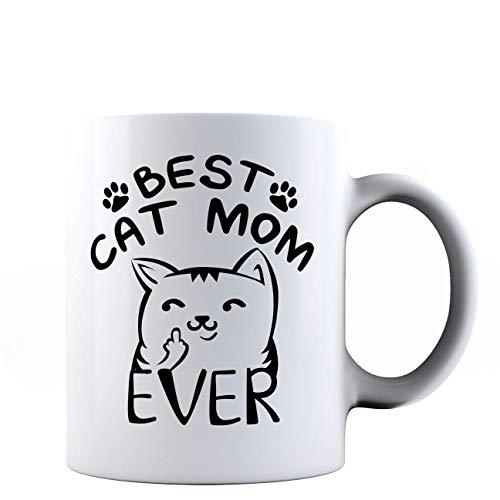 Taza de cerámica con texto en inglés 'Best Cat Mom Ever', regalo para amantes de los gatos
