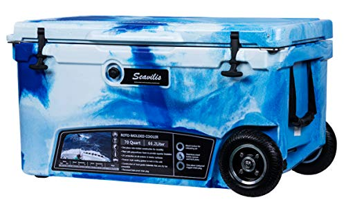 Seavilis Milee-Wheeled Cooler 70QT Marine CAMO (Included $50 Accessories) Divider, Basket and Cup Holder are Free.