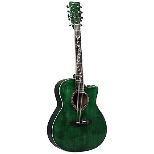 Xhtoe Guitarra, Guitarra acústica de Madera sólida Chapa de la Guitarra La Gente del Campo 41 Pulgadas Guitarra Clásica para Todo el Mundo (Color : Green, Size : 41 Inches)
