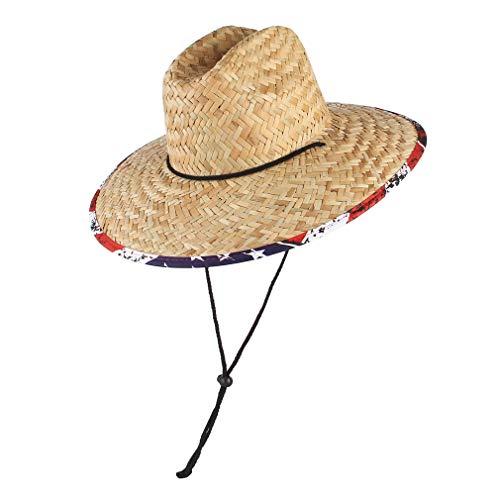 Cloudkids Sombrero de Pescador Unisexo Senderismo Campo Jardinería Salvavidas Sombrero Mujer Hombre Decoración de Tela Iimpresa Tejido Mano Viaje Verano ala Ancha Anti-UV 58-60cm (Bandera América)