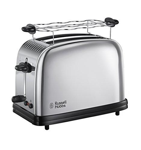 Russell Hobbs Toaster Victory, 2 extra breite Toastschlitze, inkl. Brötchenaufsatz, 6 einstellbare Bräunungsstufen + Auftaufunktion, Schnell-Toast-Technologie, 1670W, 23310-56, Edelstahl