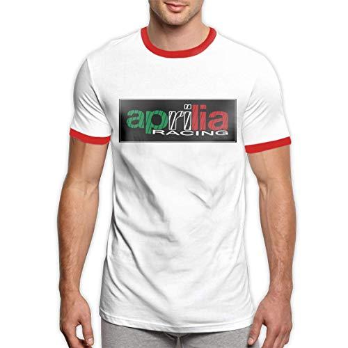Casual Tops Tees Design Pintado a Mano Aprilia Racing Logo Camisetas de algodón para Hombre Negro