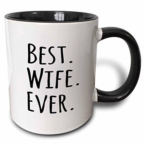 Riongeeo Best Wife jamais Fun Romantique Married Mariage Amour Cadeaux pour Elle pour Anniversaire de Mariage ou Saint Valentin Deux Tons Noir Mug 311,8 Gram, Noir/Blanc