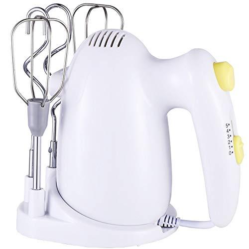 WHOJA Mixeur plongeant multifonction 120W 5 vitesses Fouet électrique Outils de cuisson ménagers Mini machine à crème portable Mélangeur de pâte Résister blanc Mousseur à lait à la crème