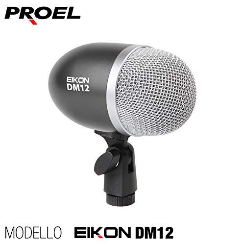 PROEL EIKON DM12 - Microfono dinamico professionale per strumenti e supporto montaggio integrato, Capsula in Silver, Nero