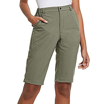 BALEAF Women's Stretch Quick Dry Shorts Water Resistant for Hiking, Camping, Travel Grey Sage Green L