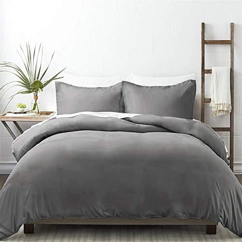 NIERBO Aktualisierung Hohe Qualität Baumwolle Bettwäsche Set, 1 Bettbezug 135x200cm & 1 Kissenbezug 80x80cm Grau Dicker mit Reißverschluss