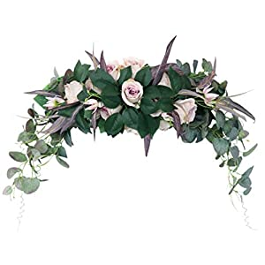 jojofuny Artificial Rose Flower Swag Silk Flower Decorative Swag with Fake Green Leaves Arch Wreath Centerpiece for Wedding Arch Front Door Wall Decor Mixed Color