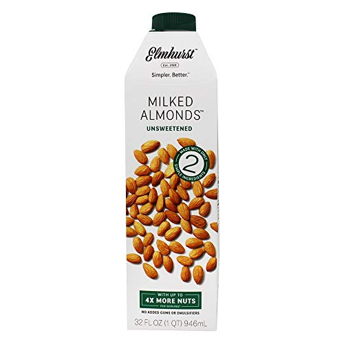 Elmhurst Milked - Unsweetened Almond Milk - 32 Fluid Ounces. Only 2 Ingredients, 4X the Protein, Non Dairy, Keto Friendly, No Added Sugar, Vegan