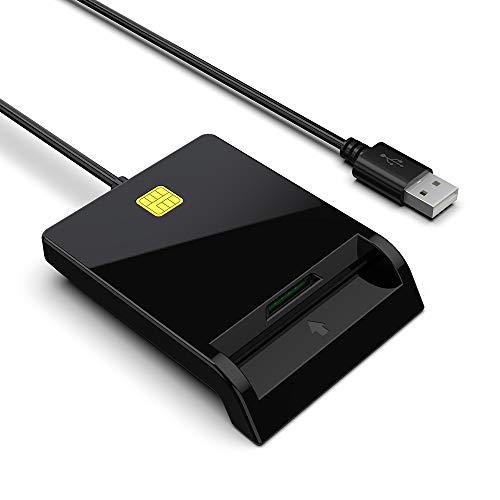 Smart Card + SIM Card Lettore Smart Card, Lettore di schede IC hot-plug Contact, Design a doppio slot per schede, Lettore di schede CAC militare portatile, Compatibile con Windows XP/Linux/MAC OS
