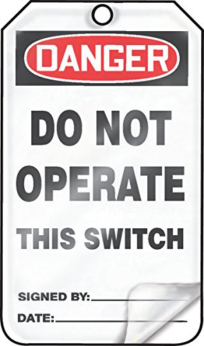 Accuform MDT220LCM PF-Cardstock Safety Tag, Legend'Danger DO NOT Operate This Switch', 5.75' Length x 3.25' Width x 0.010' Thickness, Red/Black on White (Pack of 5)