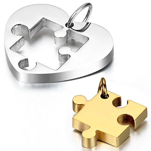 JewelryWe Schmuck 2 Freundschaftsketten Einfache Herz Puzzle Edelstahl Partner-Anhänger mit 45cm und 54cm Kette, Halskette für Damen & Herren, Gold Silber