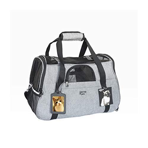 ABISTAB Hundebox faltbar Transportbox Hunde und Katze Transporttasche für Auto- und Flugreisen mit ID-Tag und zusätzlichen Tragegurten, 48 x 33 x 25,5cm